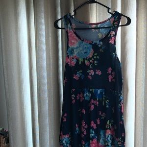 Floor length tank dress. Navy and floral w/pockets